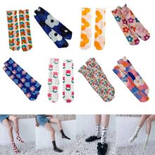 Korean Fashion Long Crew Socks Women Girls Sweet Candy Colorful Floral Print Translucent Mesh Summer Thin Cute Art Tube Hosiery