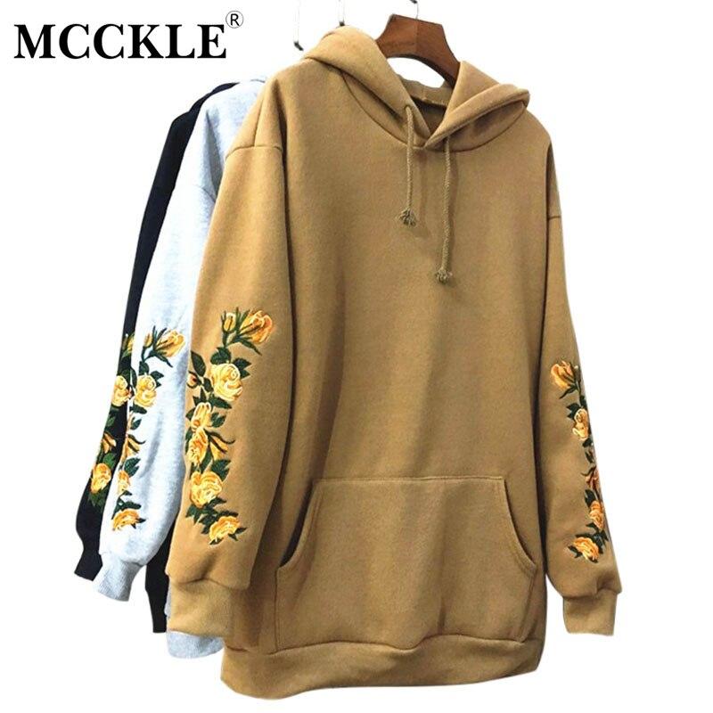 MCCKLE/Для женщин с капюшоном цветочной вышивкой пуловер с капюшоном верблюд Цвет Свободные Толстовка для Для женщин флис толстый теплый harajuku ...