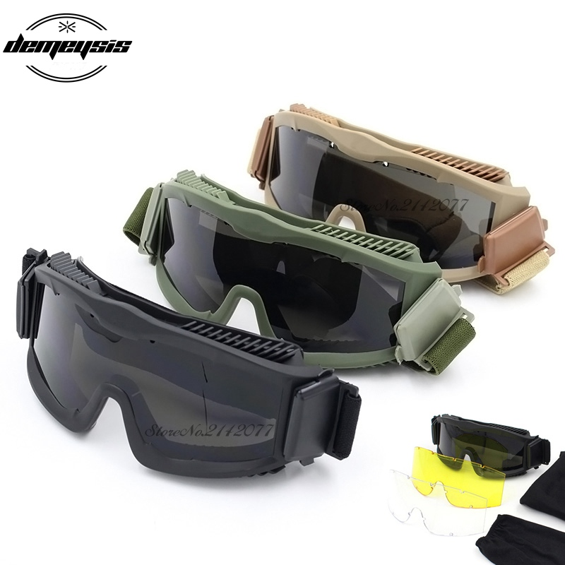 2018 Military Sunglasses Safety Glasses Shooting Tactical Army 3 Lens Goggles UV