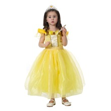 girls new beauty and beast Cosplay costume kids Princess Belle 3 layers long dress clothing for children JQ-1109