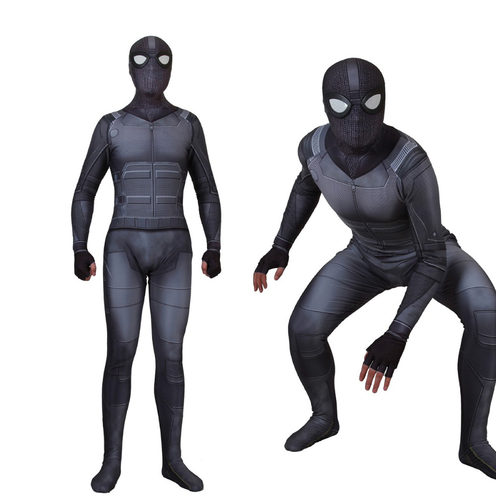 Adult Kids Spider-Man: Far From Home Stealth Suit Cosplay Costume Spiderman Noir Suit Black Jacket Halloween Event Bodysuit