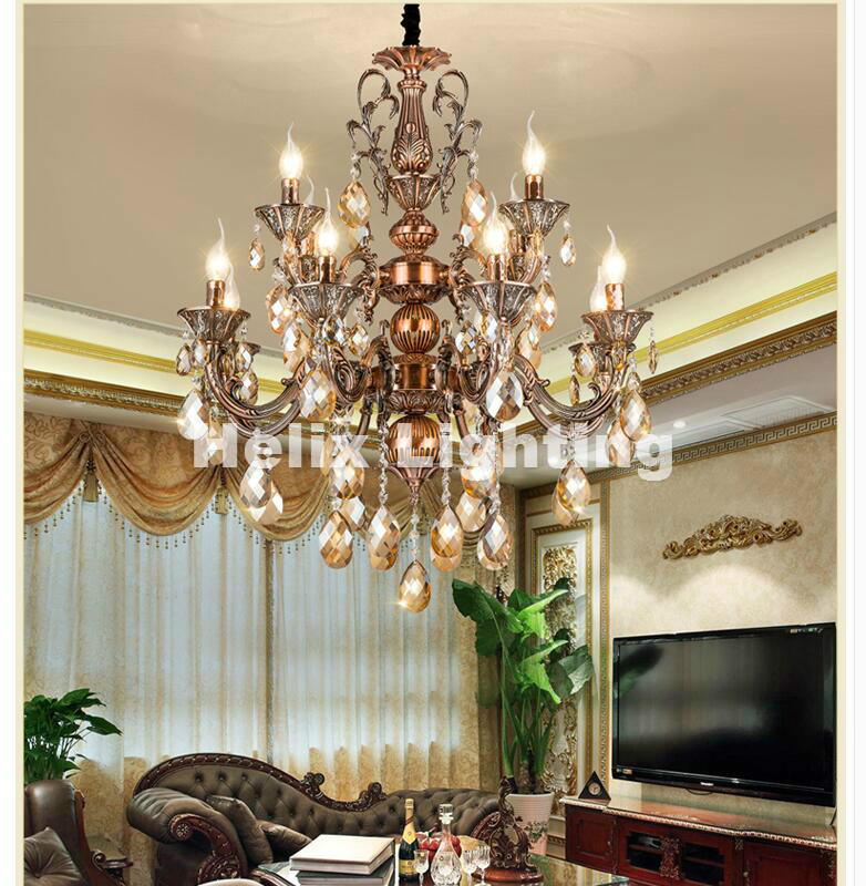 цена на European-style Luxury Crystal chandelier Zinc Alloy Chandelier Classic Crystal Lustre Hanging Lamp for Foyer Cristal Candle Bulb