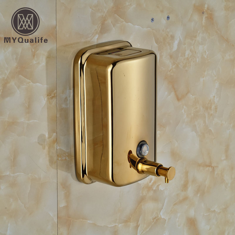 Stainless Steel Golden Bathroom Kitchen Soap Dispenser Wall Mounted 800ml Liquid Shampoo Bottle Soap Box cheaper stainless steel liquid soap dispenser kitchen sink soap box free shipping chrome finished