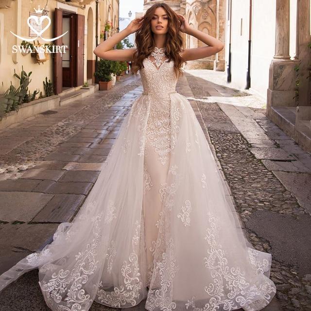 Odpinany pociąg suknia ślubna 2020 Sexy 2 w 1 syrenka Swanskirt aplikacje koronki kryształowy pas suknia ślubna vestido de noiva LZ07