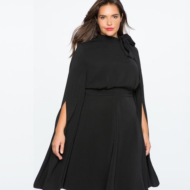 Plus Size Solid Black Lace Up Cloak Sleeves Women Dress Big Size