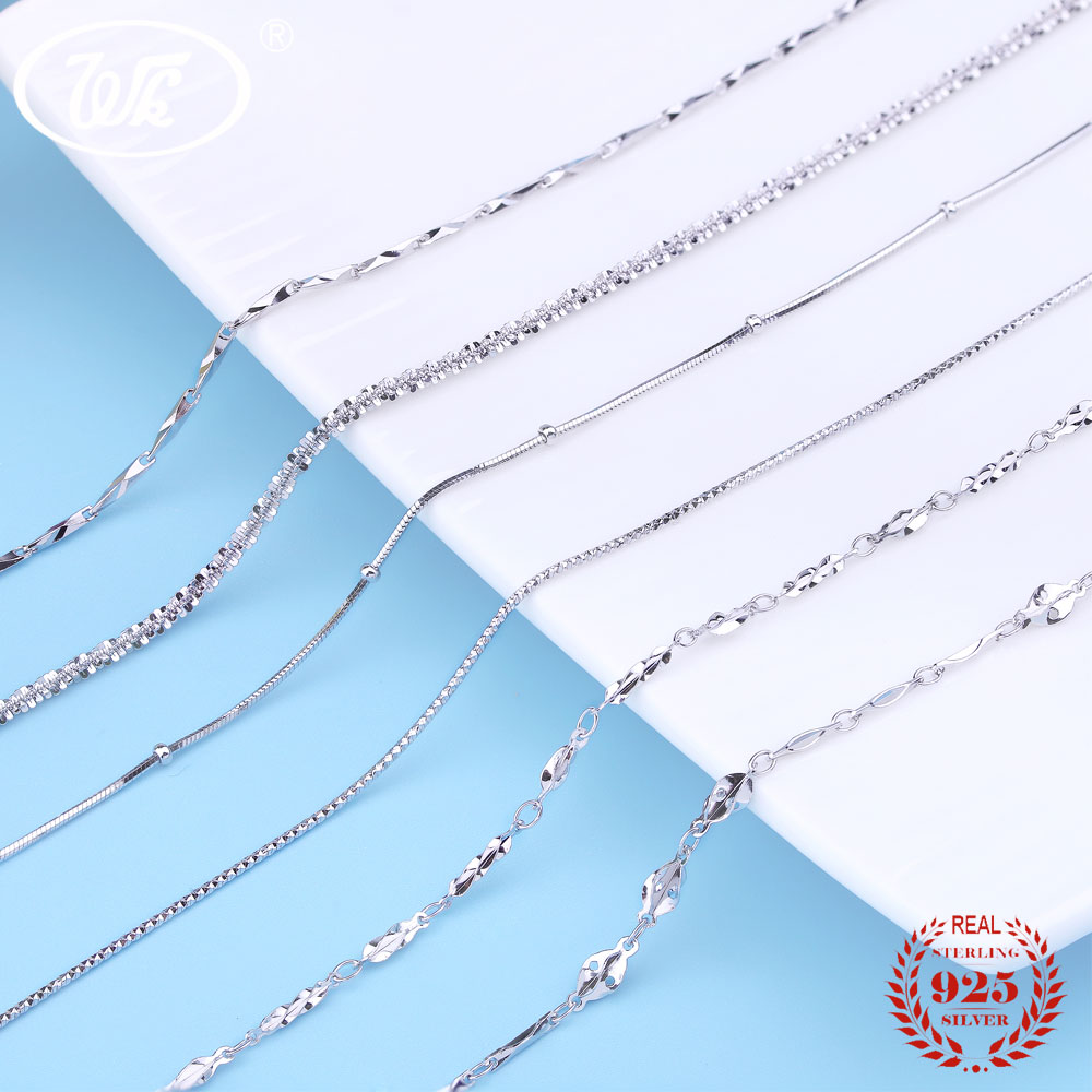 WK 5 10 20 PCS 925 Sterling Silver Chain Necklace Wholesale Jewellery Mix Lots Twisted Snake Box Link Necklaces 18 Inch W3 NA002 new wholesale mix 36 pcs wholesale jewelry lots style mixed lots crystal rhinestone kid children rings free shipping