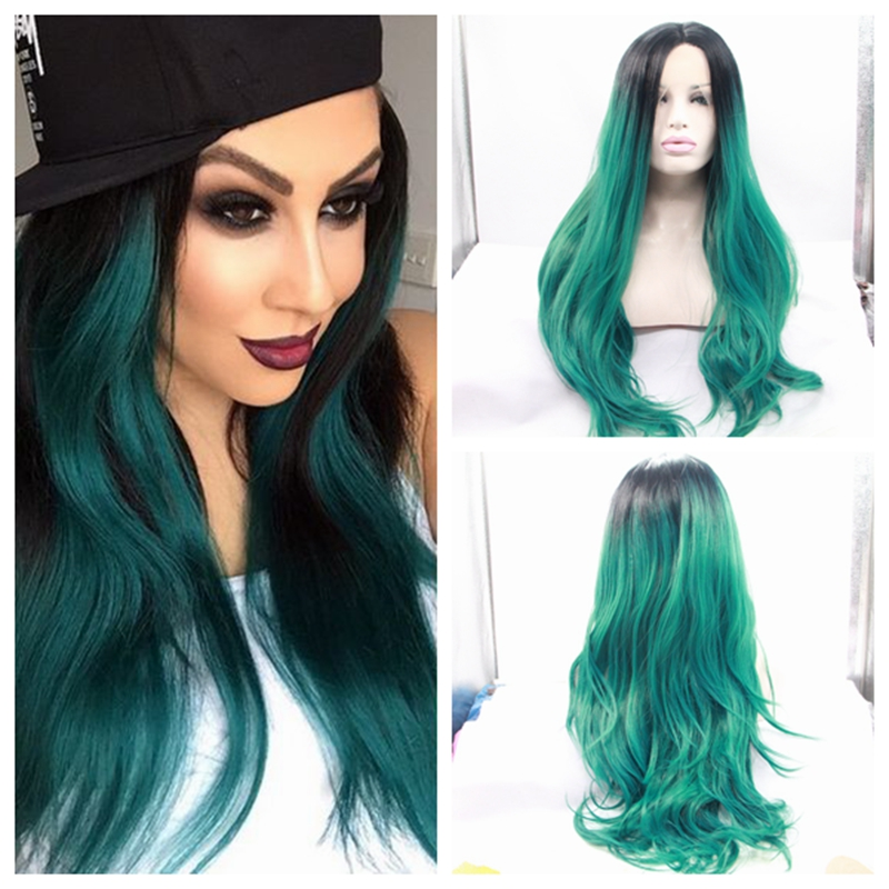 ФОТО High Density Black To Dark Long Green Ombre Wig Teal Turquoise Natural Wave Synthetic Lace Front Wigs for African American Women