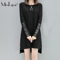 Misslymi xl-5xlプラスサイズの女性黒のドレス2017秋原宿リベットpuパッチワークロングスリーブビッグサイズ非対称ドレ