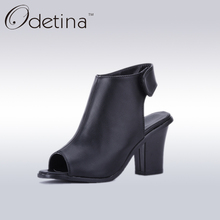 Odetina 2017 New Designer Black Women Peep Toe High Heels Fashion Ladies Slingbacks Pumps Women Square Heels Summer Shoes