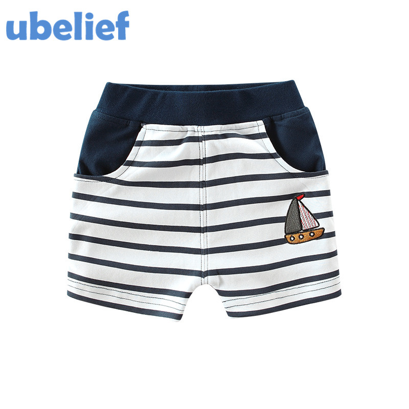 UBELIEF 2017 Summer Baby Boys Shorts Print Cartoon Sailing Pattern Boys Clothes Trousers Toddler Boys Weave