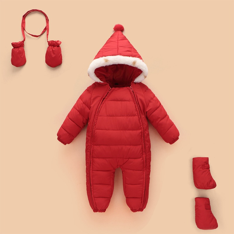 Winter christmas santa Down Baby Rompers Boys Costume Girls Warm Infant Snowsuit Kid Jumpsuit Children Outerwear Baby Wear 0-12m winter baby snowsuit baby boys girls rompers infant jumpsuit toddler hooded clothes thicken down coat outwear coverall snow wear