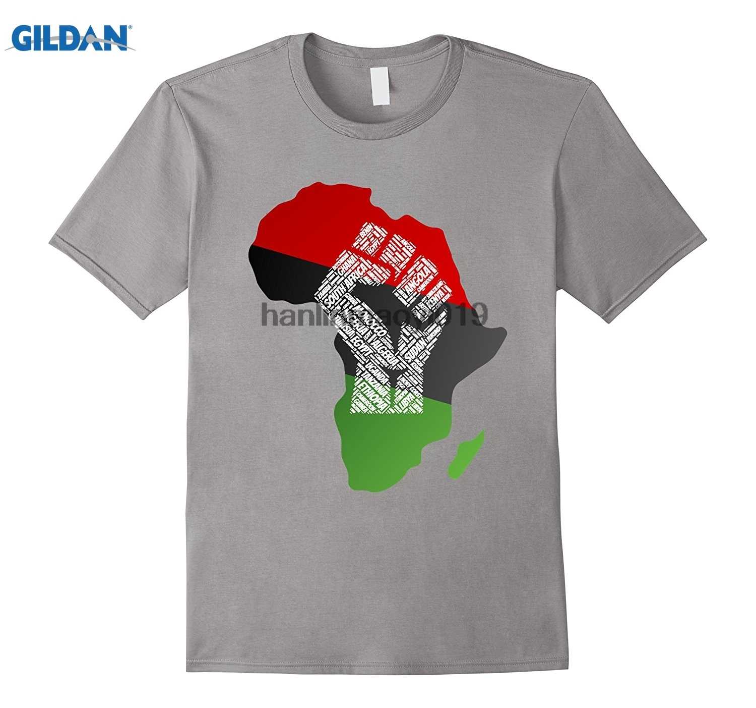 GILDAN Pan African Flag Shirt Antifa Fist UNIA United Black Tee