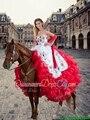 2017 Impresionantes puffy gradas del vestido de bola flores bordado rojo y blanco vestidos de quinceañera con bufanda chalina envío hecho a medida