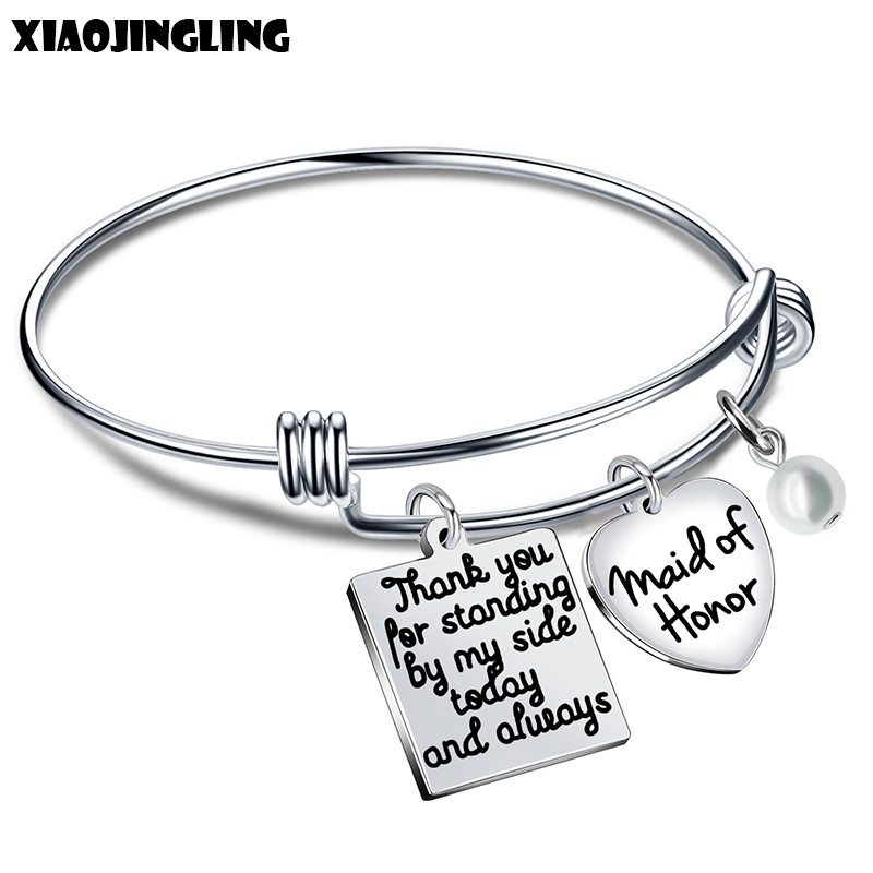 XIAOJINGLING Fashion Heart Pendant Bangle Charm Bracelet Jewelry For Womenshe believed she could so she did Bridesmaids Gift
