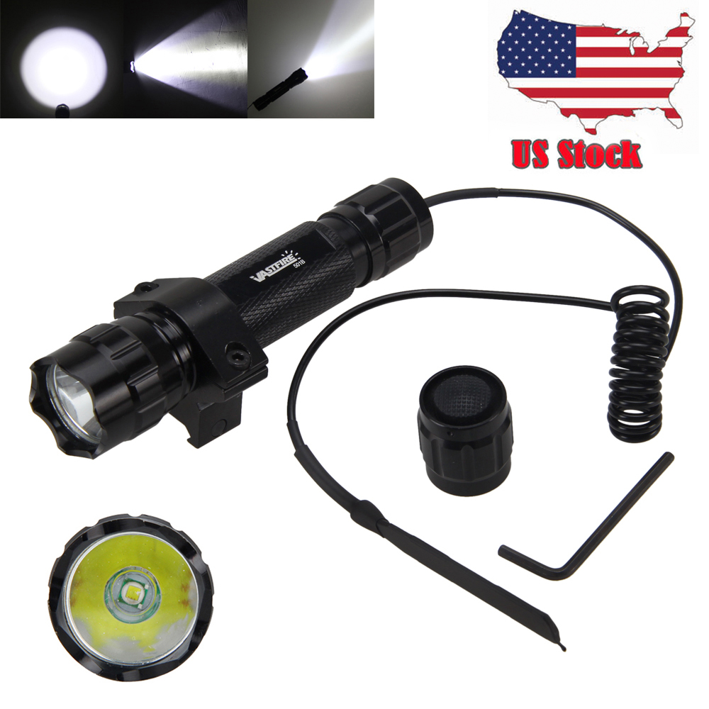 Waterproof Hunting Light 5000Lm XML T6/Q5 LED Flashlight Tactical Torch+Gun Mount+Remote Pressure Switch