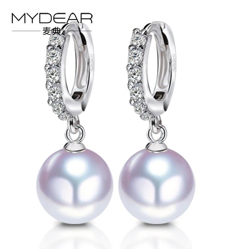MYDEAR Natural White 9.5 10mm Akoya Pearl Earring S925 Platinum Diamond Jewelry