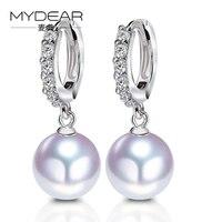 MYDEAR Natural White 9 5 10mm Akoya Pearl Earring S925 Platinum Diamond Jewelry