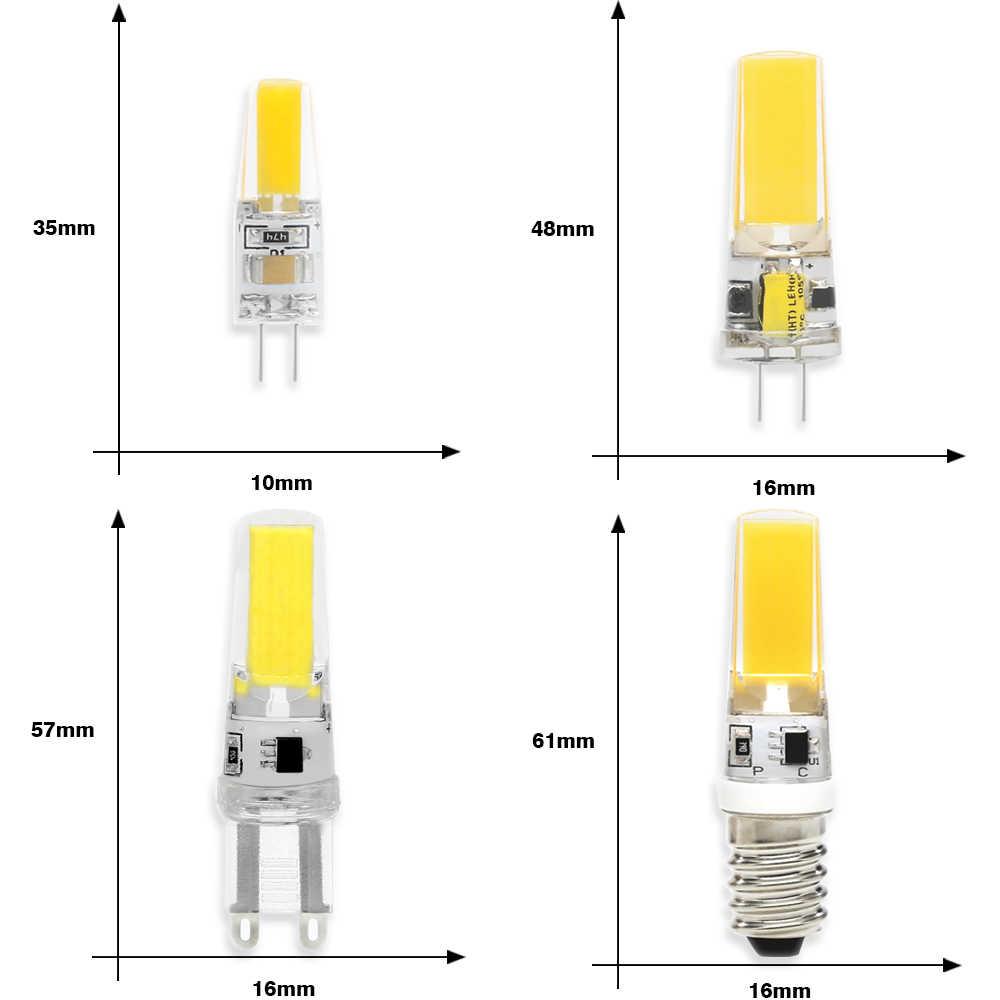 LedランプG4 G9 E14 3ワット6ワット9ワットledチップac dc 12v 220v E14 360ビーム角cob交換ハロゲンランプシャンデリアled電球