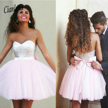 2020 New Arrival Sweetheart Beading Homecoming Dresses With Bow Above Keen Mini Cocktail Dresses фото