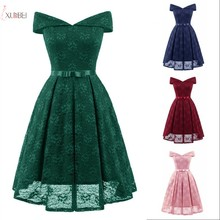 2019 Burgundy Pink Navy Blue Lace Short Prom Dresses V Neck Sleeveless Swing Prom Party Gown Gala Dress burgundy lace details v neck sleeveless mini dress
