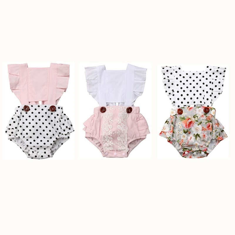 Baby Girls Cotton   Romper   2019 New Arrival Newborn Baby Girls Clothes Splice   Romper   Sleeveless Backless Summer Jumpsuit Outfits