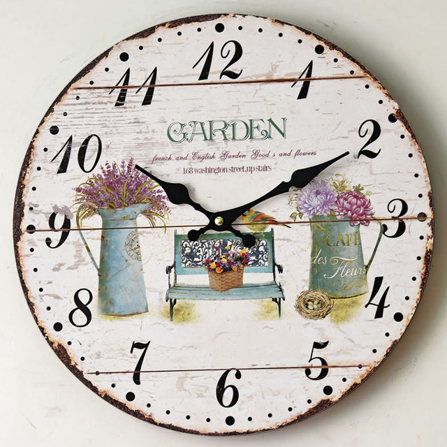 Garden Large decorative Wall Clock absolutely silent Pastoral home fashion living room wall watches