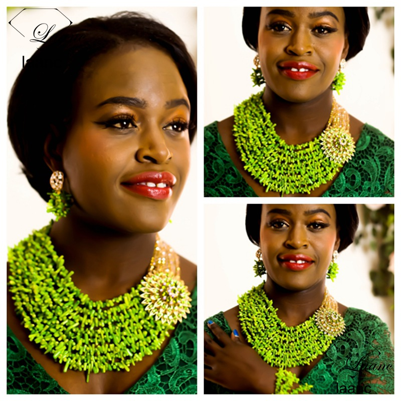 Laanc Brand Coral Beads Necklace Jewelry Nigerian Wedding African Green Coral Beads Jewelry Set and Gold Crystal AL282Laanc Brand Coral Beads Necklace Jewelry Nigerian Wedding African Green Coral Beads Jewelry Set and Gold Crystal AL282