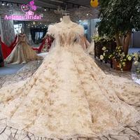 Vestido De Noiva Appliques Lace Feathers Princess Wedding Dresses 2019 Sweetheart Neck Lace Royal Train Ball Gown Bridal Dress