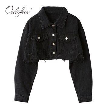 Ordifree Autumn Women Denim Jacket Long Sleeve Fashion Streetwear Casual Loose Outwear Short Ripped Jeans Jacket Coat 1