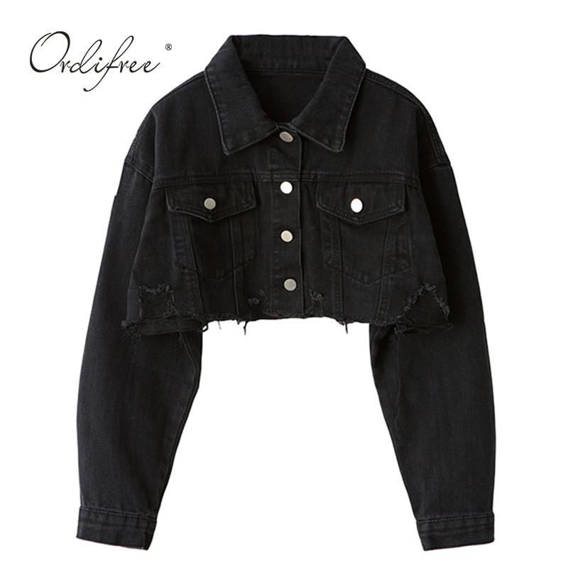 Ordifree 2020 Autumn Women Denim Jacket Long Sleeve Fashion Streetwear Casual Loose Outwear Short Ripped Jeans Jacket Coat