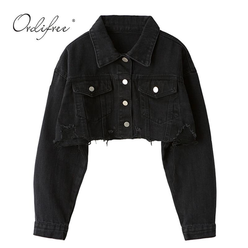 Ordifree 2020 Autumn Women Denim Jacket Long Sleeve Fashion Streetwear Casual Loose Outwear Short Ripped Jeans Jacket Coat