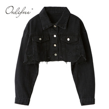 Ordifree 2020 Autumn Women Denim Jacket Long Sleeve Fashion Streetwear Casual Lo