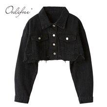 Ordifree 2020 가을 여성 데님 자켓 긴 소매 패션 Streetwear 캐주얼 루즈 아웃웨어 짧은 찢어진 청바지 자켓 코트