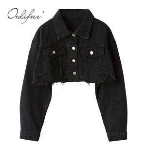 Image 1 - Женская джинсовая куртка Ordifree, модная Уличная Повседневная Свободная короткая рваная джинсовая куртка с длинным рукавом, осень 2020