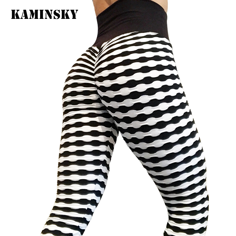 Kaminsky Women Fashion Fitness   Leggings   Mujer Wrinkle Striped High Waist Pants Athleisure Women Workout Sexy   Leggings