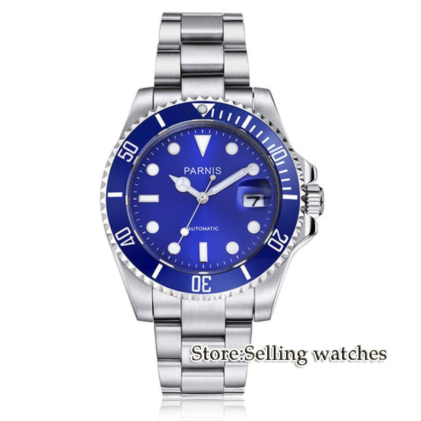 Parnis wrist watch MIYOTA Automatic movement 40mm SS case blue dial luminous Sapphire glass ceramic bezel Men's watch men