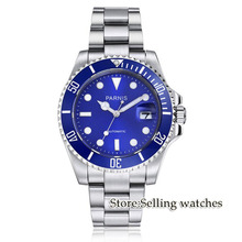 Parnis wrist watch MIYOTA Automatic movement 40mm SS case blue dial luminous Sapphire glass ceramic bezel Men's watch men все цены