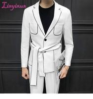 Linyixun 2019 Spring Long Sleeve Belt Decoration Man's Suit Korean Self cultivation Weave Bring Full Dress Suit Man Suit Ternos