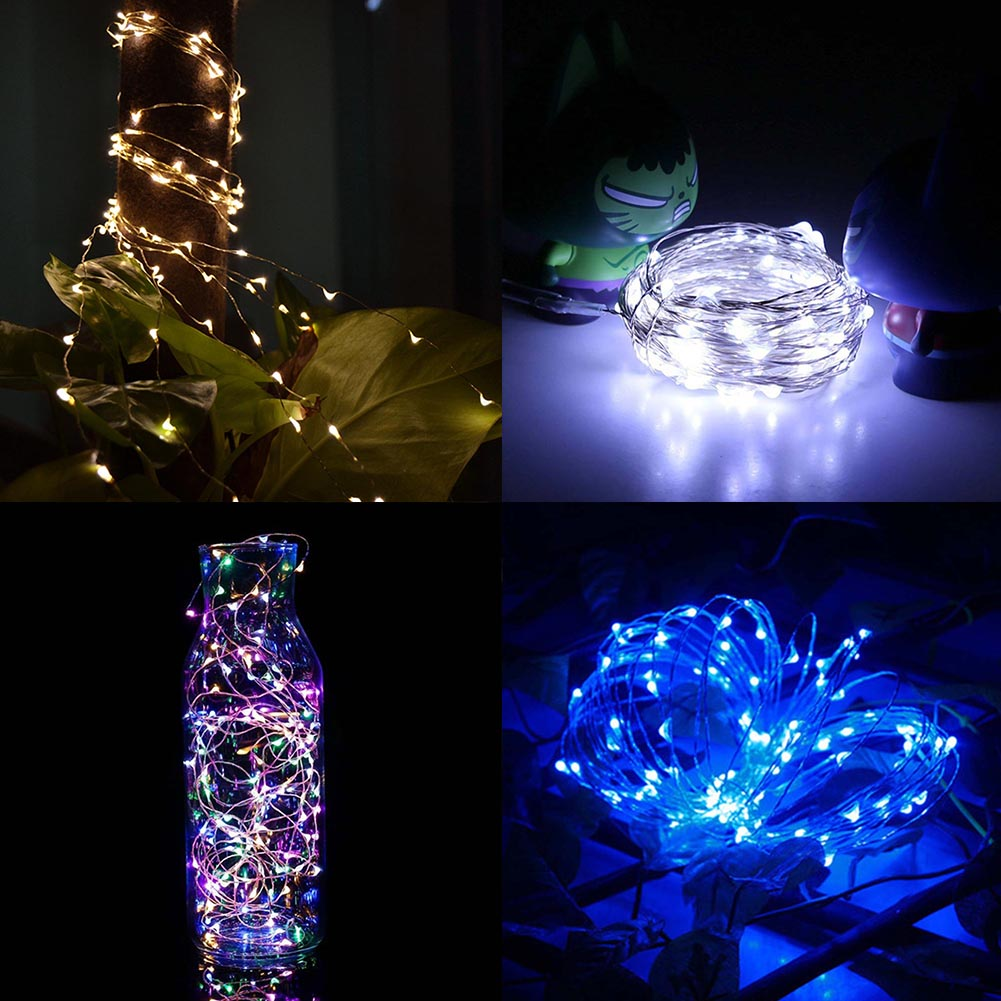 4M 40 LED Battery Waterproof Led Copper Wire String Lights Christmas Festival Wedding Party Decoration Garland Strip