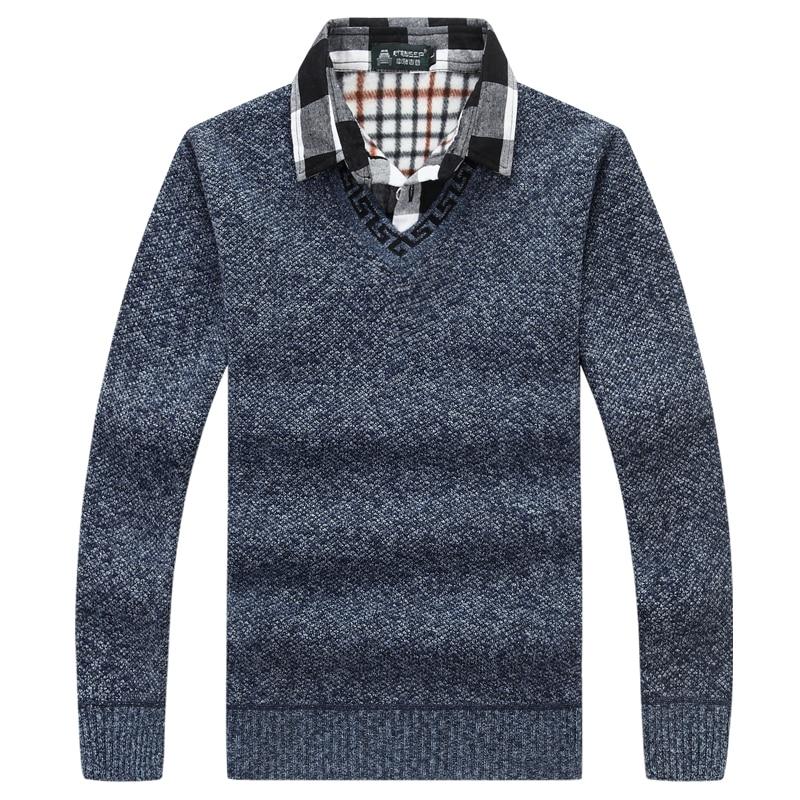 QIMAGE 2017 V-Neck 스웨터 남성용 컴퓨터 니트 패션 남성용 스웨터 스웨터 캐주얼 스웨터 남성 의류