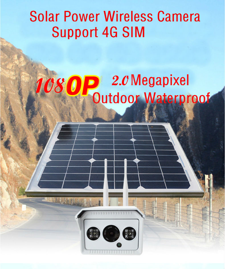 YobangSecurity 1080P 2.0M Solar Power Surveillance Camera Battery Wireless Outdoor Solar Power IP Camera 3G/4G SIM With 16GB TF