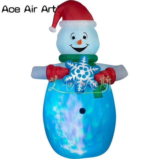 nicely christmas airblown inflatable snowman holding snowflakes lighted outdoor lawn yard decoration - Christmas Airblown Inflatables