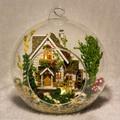 G015 BRICOLAJE casa de muñecas miniatura de mini bola de cristal Villa Bosque Kits de edificio modelo de madera casa de Muñecas En Miniatura de Juguete de Regalo envío gratis