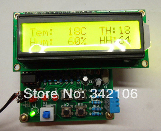Free Shipping!!!  Digital temperature and humidity (LCD) / 51 single / electronic kits / DHT11 Kit)