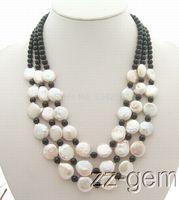 Mode meisje sieraden 12 MM Natuurlijke Witte Parel & Onyx Ketting