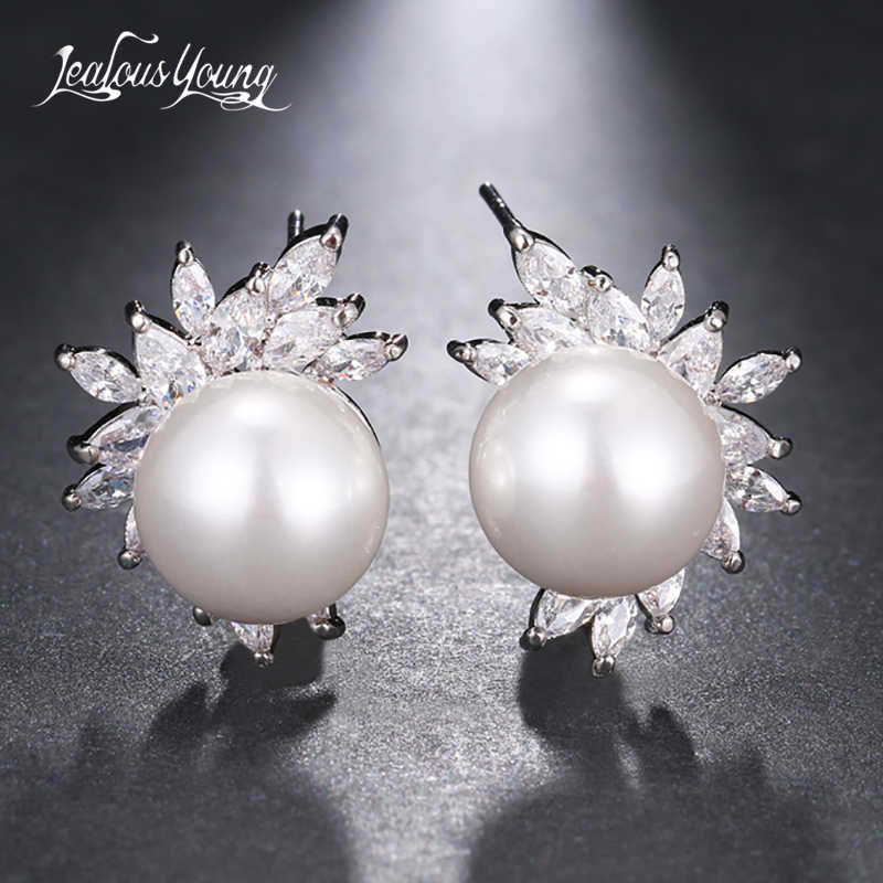 2018 Fashion Round Simulated Pearl Stud Earrings With AAA Marquise Zirconia Women Studs Ear Earings Jewelry Gift brinco AE658