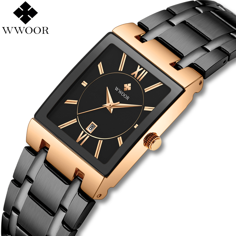 WWOOR Men Watches Square Quartz Watch Men Brand Luxury Waterproof Clock Business Wristwatch Man Dress Watch Male Black Rose Gold