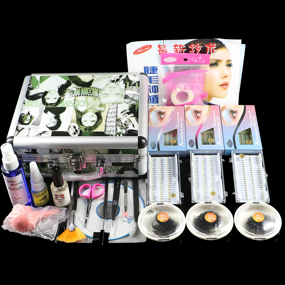 Fashion False Double Layer Beauty Grafting Eyelash Extension Kit Full Set with Silver Case for Beauty Salon Makeup Free shipping 2017 new double layer beauty grafting salon makeup tools false extension eyelash glue brush kit set eyelashes women beauty tool