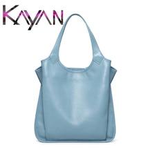 Pure Color Women Handbag Soft Leather Shopping Bag Large Capacity Creasing Female
