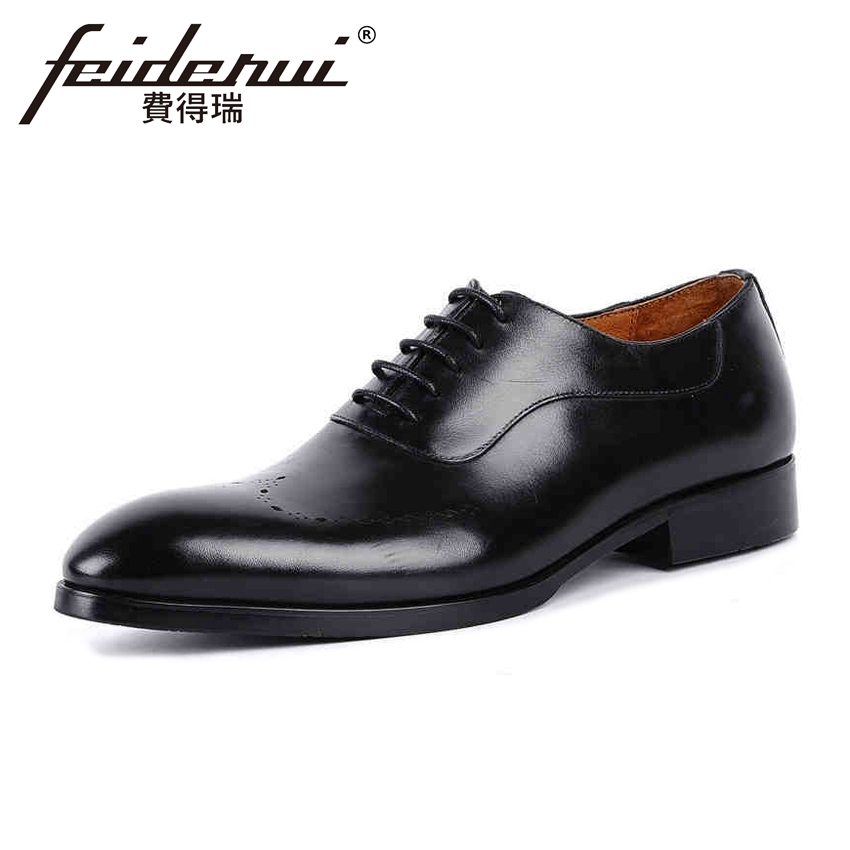 Top Quality Genuine Leather Men's Handmade Prom Oxfords Vintage Round Toe Man Formal Dress Wedding Party Brogue Shoes YMX74 vintage handmade genuine leather men s oxfords round toe lace up man wingtip prom flats formal dress wedding brogue shoes kud103